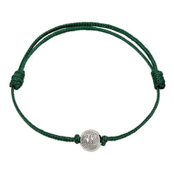 Green Cord Bracelet with Silver