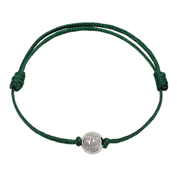 Green Cord Bracelet with Silver Roano Collection Adjustable