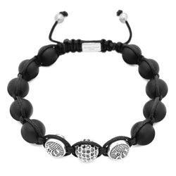 MEN MATTE ONYX BEADED BRACELET & STERLING SILVER BEADS beaded Bracelet Roano Collection