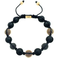 Onyx Beaded Bracelet Black & Rose Gold CZ Diamonds Roano Collection