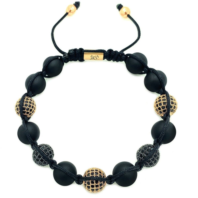Onyx Beaded Bracelet Black & Rose Gold