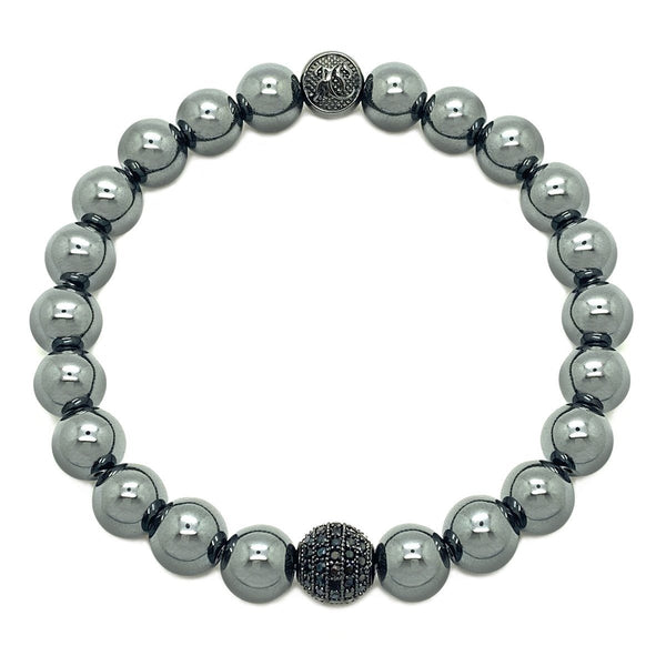 CLASSIC DIAMOND BALL BEADED BRACELET beaded Bracelets Roano Collection S hematite