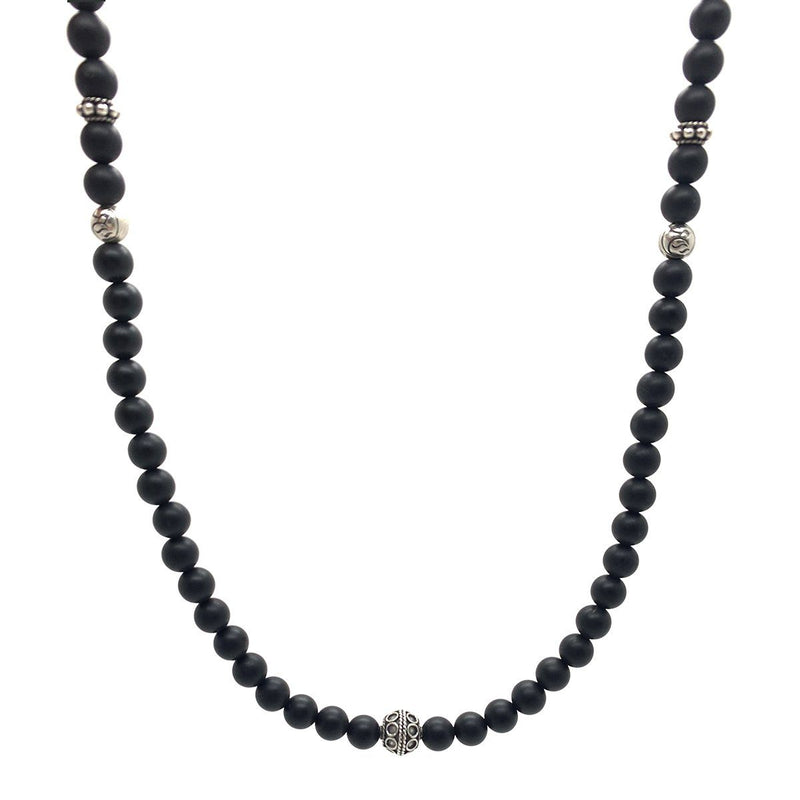 Men's Onyx Beaded Necklace - Roano Collection