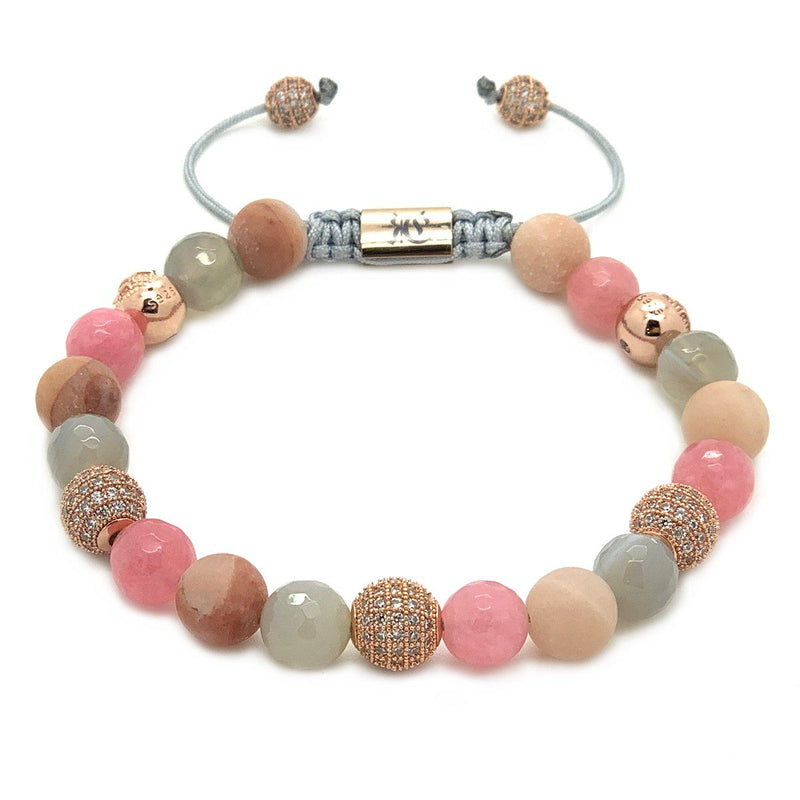 Women's Beaded Bracelet Pink Aventurine, Agate, Pink Jade - Roano Collection