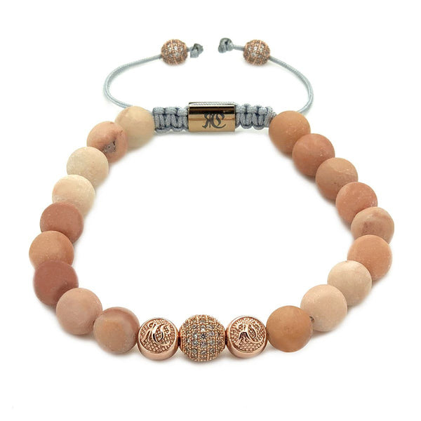 Women's Beaded Bracelet Rose Gold Matte Pink Aventurine Roano Collection
