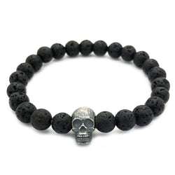 Raw Skull with Lava Stones Bracelet - Roano Collection