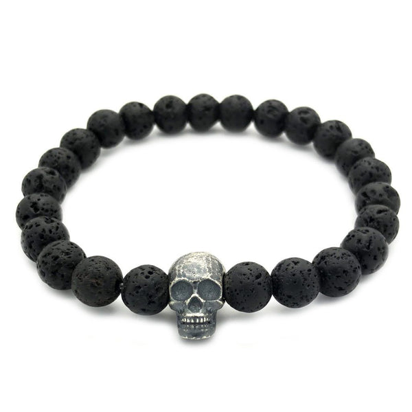 Raw Skull with Lava Stones - Sterling Silver - Roano Collection