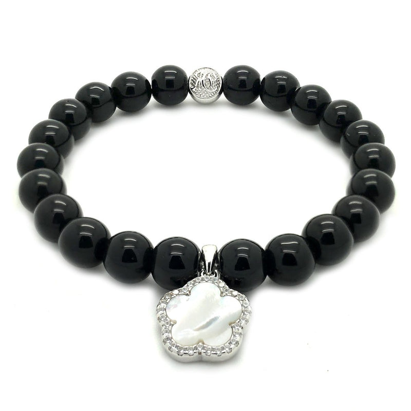 Flower Shell Charm Onyx Beaded Bracelet - Sterling Silver - Roano Collection