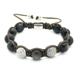 Women's Beaded Obsidian Shamballa – Sterling Silver - Roano Collection