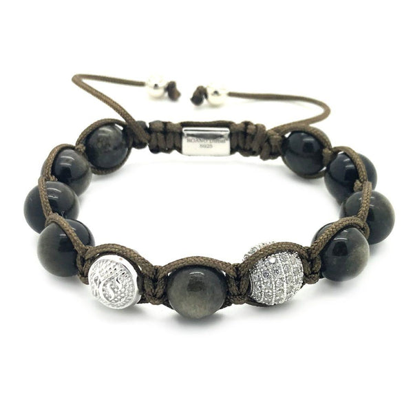 Women's Beaded Obsidian Shamballa – Sterling Silver Beaded bracelet men bracelet women bracelet Roano Collection
