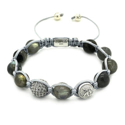 Women's Beaded Labrodite Shamballa – Sterling Silver - Roano Collection