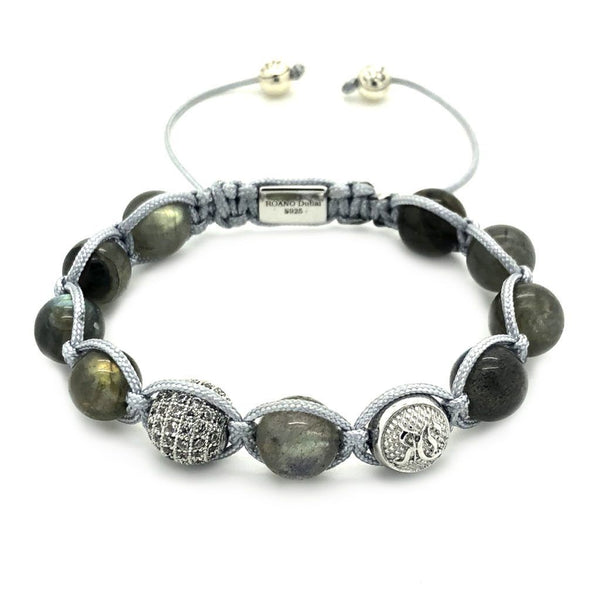 Women Beaded Labrodite Shamballa Bracelet – Sterling Silver - Roano Collection