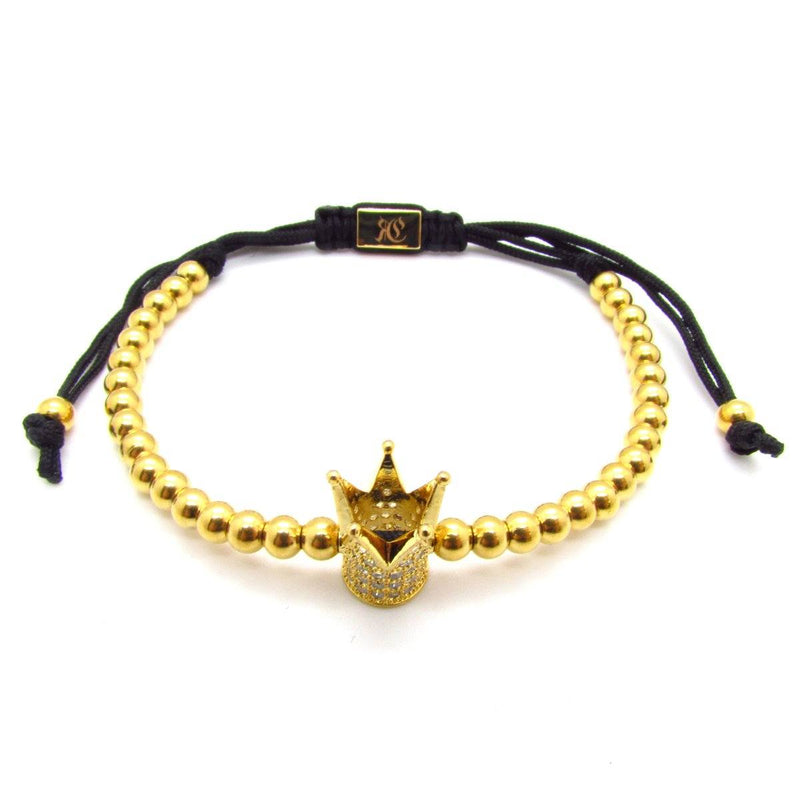 Zirconia Crown Macrame Bracelet women bracelet men bracelet macrame bracelet Roano Collection gold