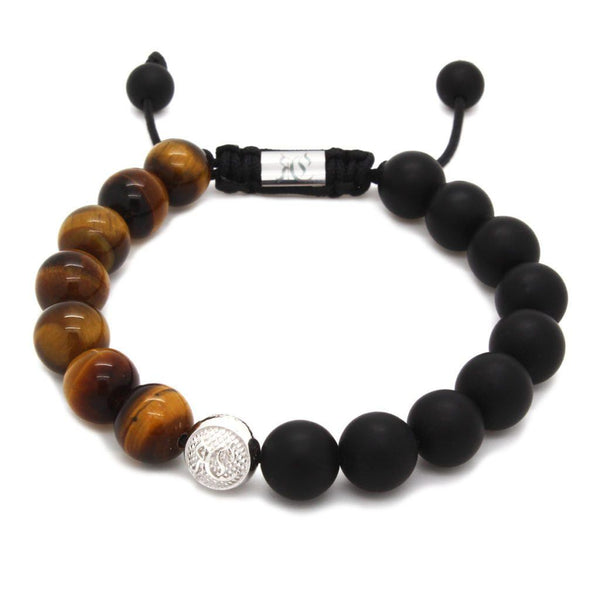 Men's Beaded Bracelet With Matte Onyx – Sterling Silver Beaded bracelet men bracelet women bracelet Roano Collection tiger-eye