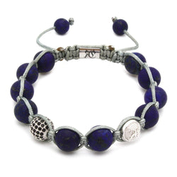 Signature Matte Lapis Lazuli Shamballa - Sterling Silver Beaded bracelet men bracelet women bracelet Roano Collection