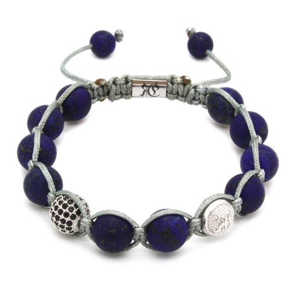 Signature Matte Lapis Lazuli Shamballa - Sterling Silver - Roano Collection