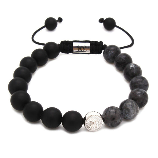 Men's Beaded Bracelet With Matte Onyx – Sterling Silver Beaded bracelet men bracelet women bracelet Roano Collection labradorite