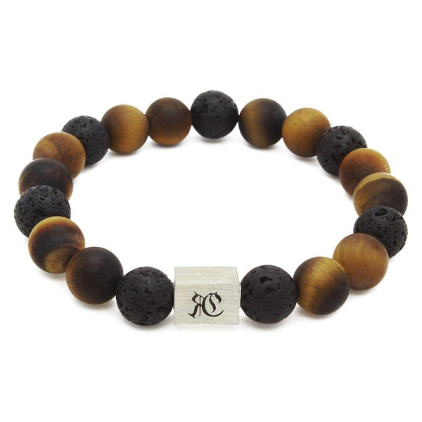 Big Classic Lava With Matte Tiger Eye Bracelet - Sterling Silver - Roano Collection
