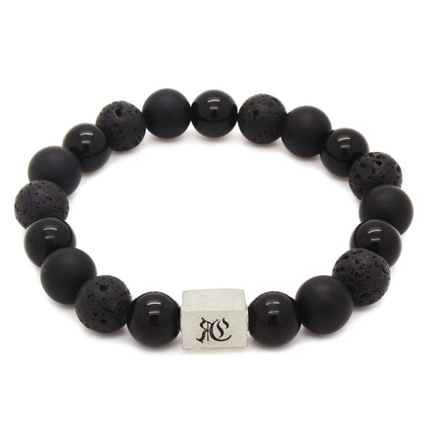Big Classic Mixed Black Men Bracelet - Sterling Silver Beaded bracelet men bracelet women bracelet Roano Collection