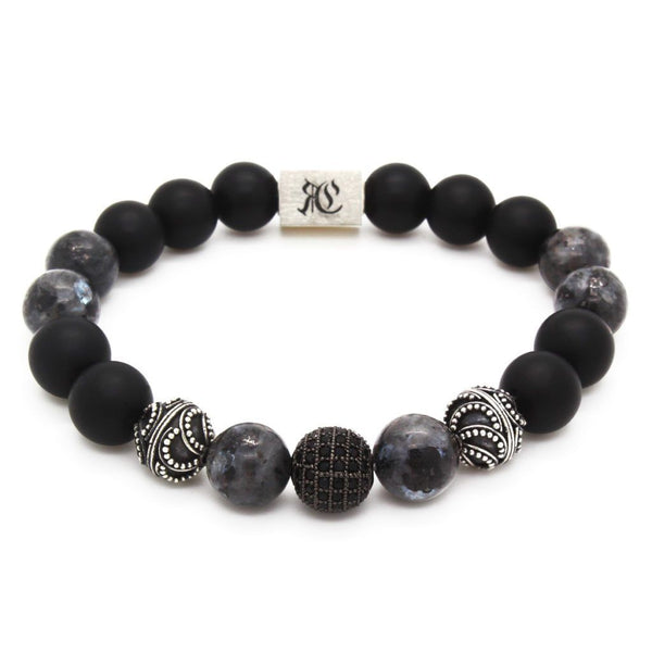Big Elegant Stones and Black Onyx Men Bracelet - Sterling Silver Beaded bracelet men bracelet women bracelet Roano Collection S (15-16 CM) labradorite