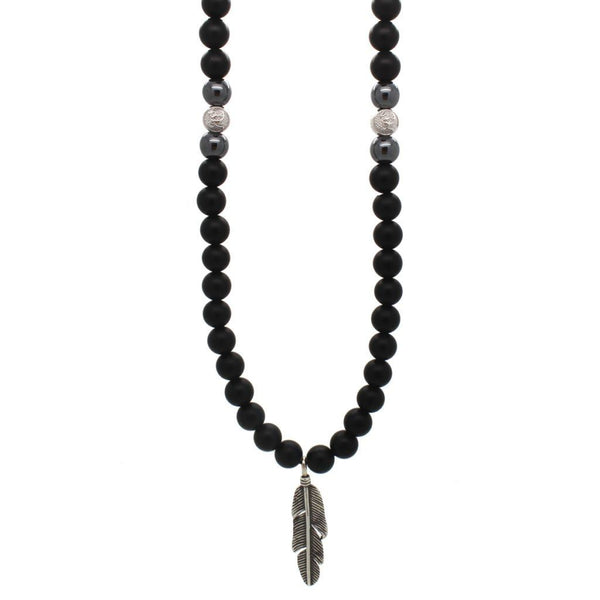 Feather Matte Onyx Shamballa Necklace - Sterling Silver - Roano Collection