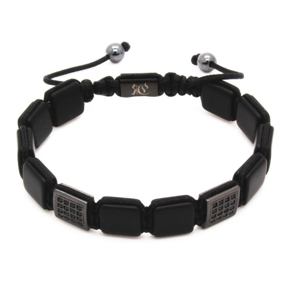 Square Stones & Cubic Zirconia Flat Beads Bracelet Beaded bracelet men bracelet women bracelet Roano Collection onyx