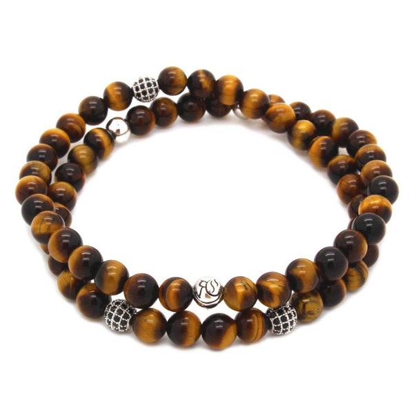 Double Semi-Precious Stones Beaded Bracelet - Sterling Silver Beaded bracelet men bracelet women bracelet Roano Collection S (15-16 CM) tiger-eye