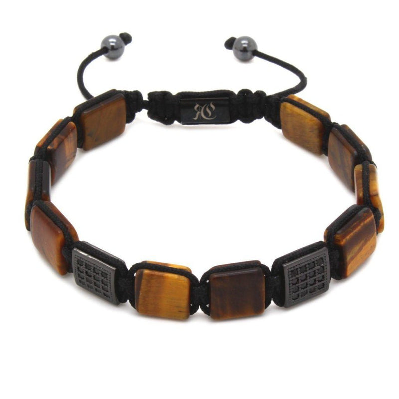 Square Stones & Cubic Zirconia Flat Beads Bracelet Beaded bracelet men bracelet women bracelet Roano Collection tiger-eye