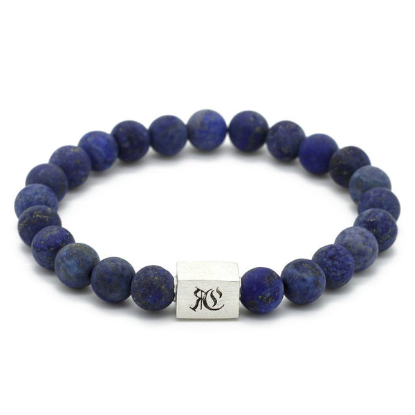 Classic Matte Semi-Precious Stone Bracelet - Sterling Silver Beaded bracelet men bracelet women bracelet Roano Collection S (15-16 CM) blue-lapiz