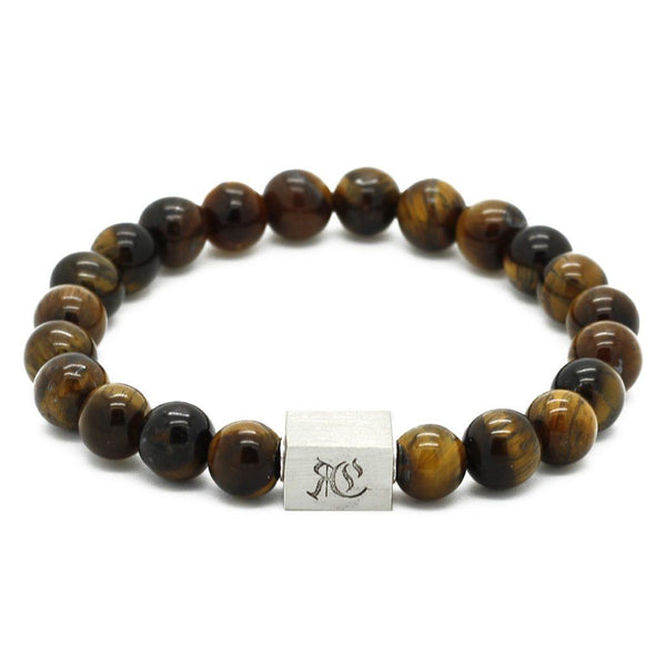 Classic Semi-Precious Stone Bracelet - Sterling Silver Beaded bracelet men bracelet women bracelet Roano Collection S (15-16 CM) tiger-eye