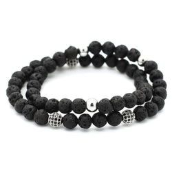 Double Layered Beaded Lava Bracelet