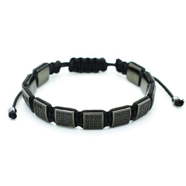 Black Cubic Zirconia Flat Beads Bracelet - Roano Collection
