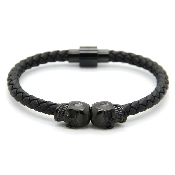 Strong Steel Double Skull Genuine Leather Bracelet Leather Bracelet Roano Collection rhodium