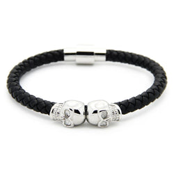 Strong Steel Double Skull Genuine Leather Bracelet - Roano Collection