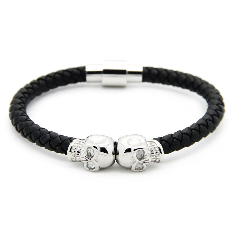 Strong Steel Double Skull Genuine Leather Bracelet Leather Bracelet Roano Collection white-gold