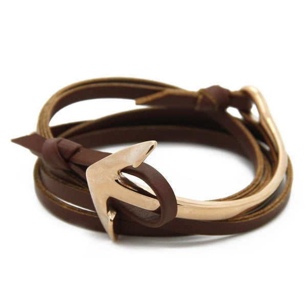 Nautical Half Cuff Anchor with Brown Leather Wrap Bracelet - Roano Collection