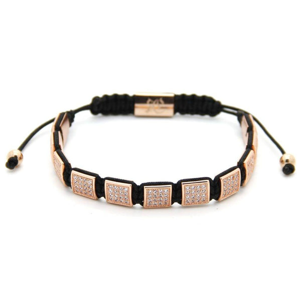 White Cubic Zirconia Flat Beads Bracelet women bracelet men bracelet macrame bracelet Roano Collection rose-gold