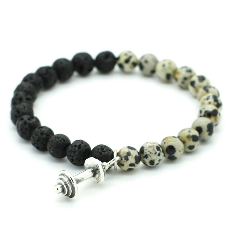 Dalmatian Jasper, Lava Rock with 925 Sterling Silver Dumbbell - Roano Collection