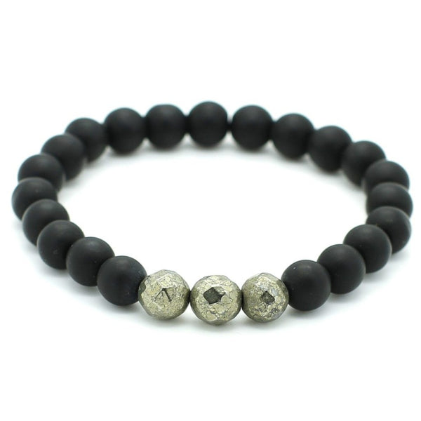 Pyrite, Matte Onyx Beaded Bracelet Beaded bracelet men bracelet women bracelet Roano Collection S (15-16 CM)