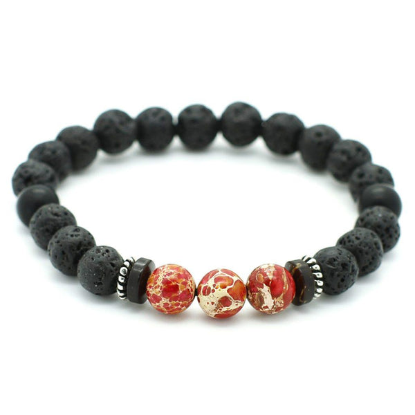 Lava, Red Emperor stone Bracelet Beaded bracelet men bracelet women bracelet Roano Collection S (15-16 cm)