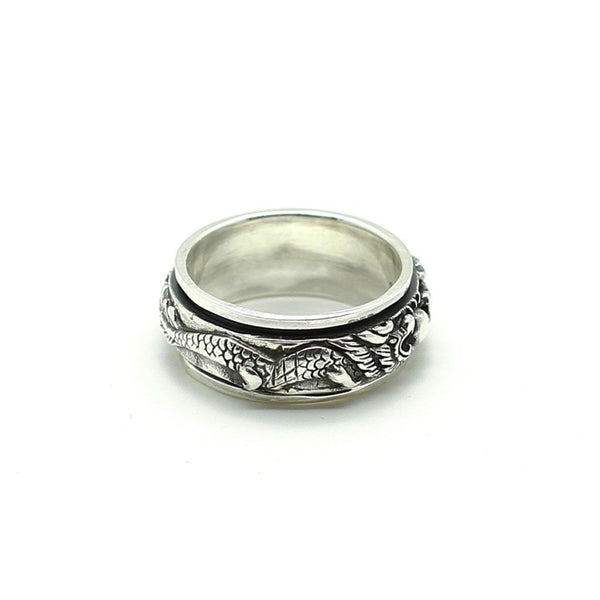 War of Dragons Spin Ring - Sterling Silver Sterling Silver Rings Roano Collection