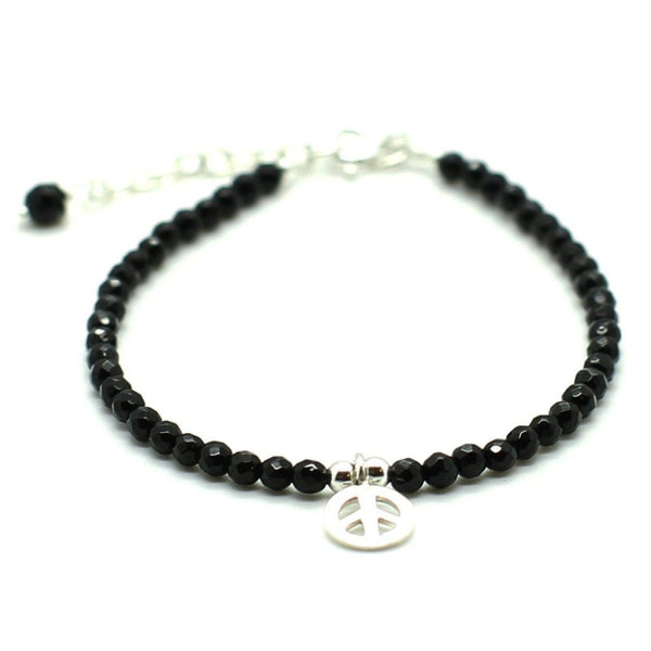 Peace Charm with Black Agate Stones - Sterling Silver Beaded bracelet men bracelet women bracelet Roano Collection