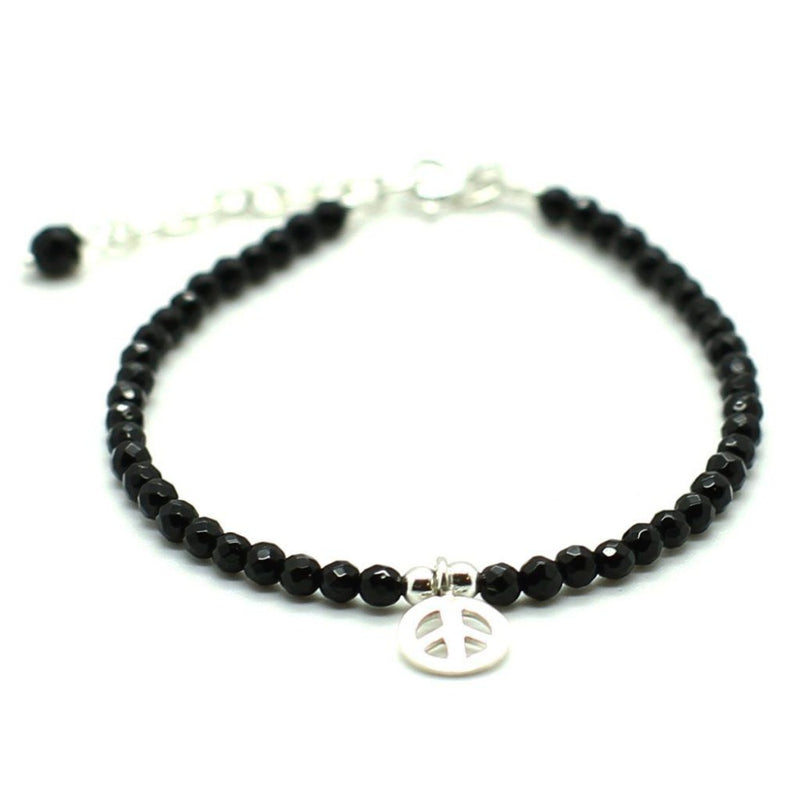 Peace Charm with Black Agate Stones - Sterling Silver - Roano Collection