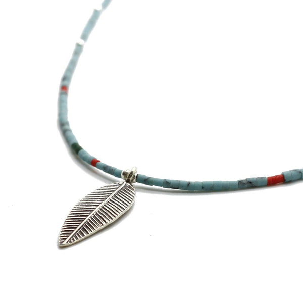 Mix Strand Feather Necklace - Sterling Silver Beaded Necklaces Roano Collection