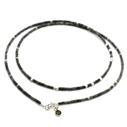 Dark Green Jade Strand Necklace - Sterling Silver Beaded Necklaces Roano Collection
