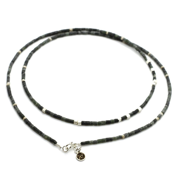 Dark Green Jade Strand Necklace - Sterling Silver - Roano Collection