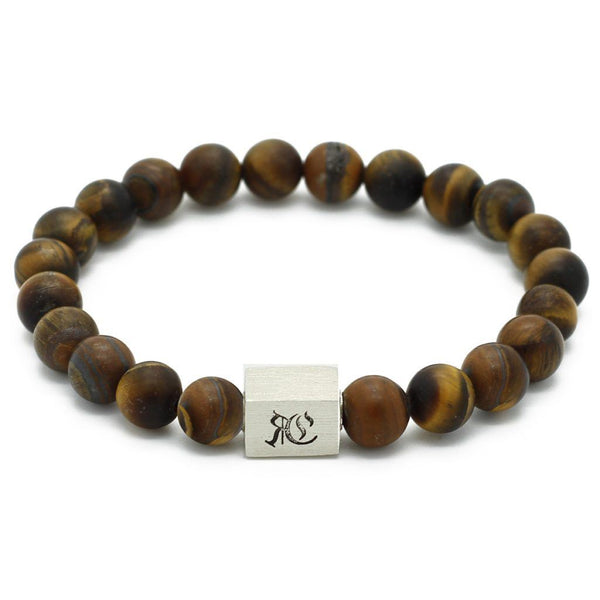 Classic Matte Semi-Precious Stone Bracelet - Sterling Silver Beaded bracelet men bracelet women bracelet Roano Collection S (15-16 CM) tiger-eye