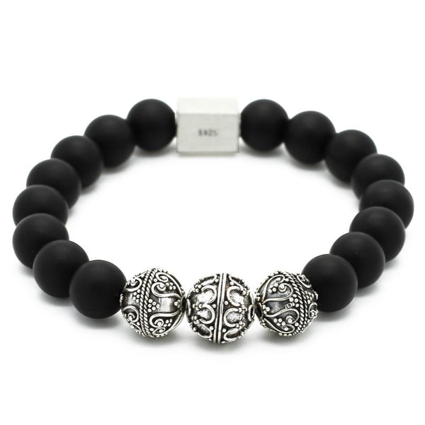 Elite Matte Semi-Precious Stones Bracelet - Sterling Silver - Roano Collection