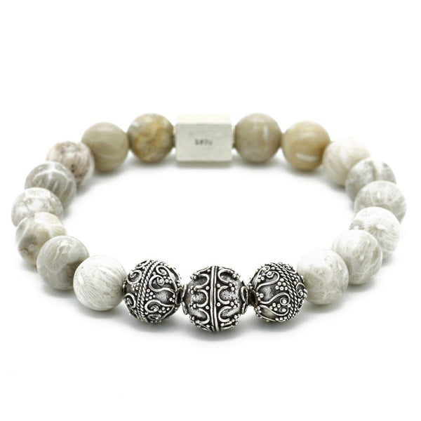 Elite Semi-Precious Stones Bracelet - Sterling Silver Beaded bracelet men bracelet women bracelet Roano Collection S (15-16 CM) chrysanthemum