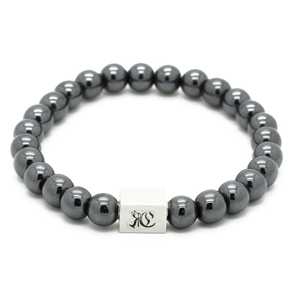 Classic Semi-Precious Stone Bracelet - Sterling Silver Beaded bracelet men bracelet women bracelet Roano Collection S (15-16 CM) hematite